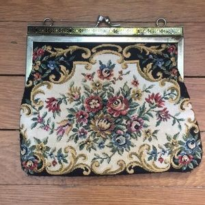 Vintage carpet bag style clutch